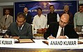 Subodh Kant Sahai and the Union Minister for Civil Aviation, Shri Ajit Singh witnessing the signing of a Memorandum of Understanding to bring more synergy between the Ministry of Tourism and Ministry of Civil Aviation for.jpg