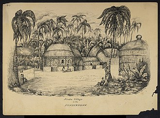 Sundarbans - Village in a clearing of Sundarbans. Drawing by Frederic Peter Layard after an original sketch of 1839