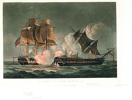Capture of La Forte, Feb 28th 1799, Thomas Whitcombe, 1816, National Maritime Museum Sybille vs Forte.jpg