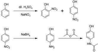 4-Aminophenol - Image: Synthesis of paracetamol from phenol