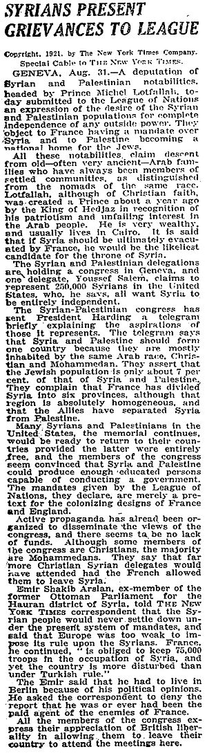 "Syrian–Palestinian Congress - 31 August 1921 New York Times article describing the work of the ""deputation of Syrian and Palestinian notables"""