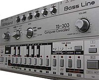 The Roland TB-303 bass synthesizer provided the electronic squelch sounds often heard in acid house tracks.