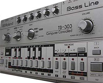 Techno - Roland TB-303: The bass line synthesizer that was used prominently in acid house.