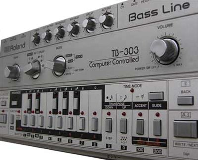 Roland TB-303: The bass line synthesizer that was used prominently in acid house. TB-303.jpg