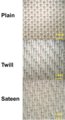 Tabby, twill, and 6-harness satin weaves, 1x1cm lyocell samples.png