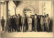 Tagore (first row, third figure from right) meets members of the Iranian Majlis (Tehran, April-May 1932). Tagore visited Shiraz in the same year, [1].