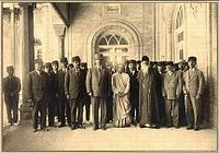 Tagore (first row, third figure from right) meets members of the Iranian Majlis (Tehran, April-May 1932).