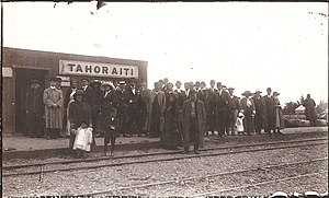 Palmerston North–Gisborne Line - Tahoraiti railway station in 1912, south of Dannevirke.