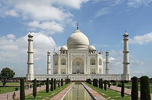 Origins and architecture of the Taj Mahal -  The large charbagh (a form of Persian garden divided into four parts) provides the foreground for the classic view of the Taj Mahal, UNESCO World Heritage Site