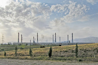 The TadAZ aluminium smelting plant, in Tursunzoda, is the largest aluminium manufacturing plant in Central Asia, and Tajikistan's chief industrial asset. Talco.jpg