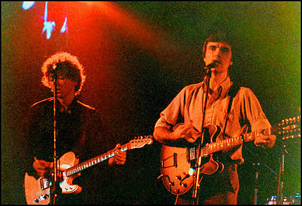 Talking Heads perform at El Mocambo in Toronto, Ontario, Canada; pictured: Harrison (left) and Byrne. Talkin'HeadsELMO.jpg