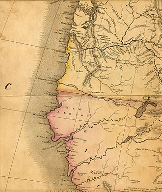 Henry Schenck Tanner - Part of Tanner's 1822 map of North America, depicting the Pacific coast with fictive rivers that were assumed to exist at that time.