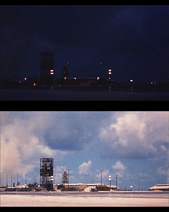 Hardtack Teak - Top: Facility on Johnston Island prior to burst. Bottom: Immediately after burst, 76.8km in altitude.