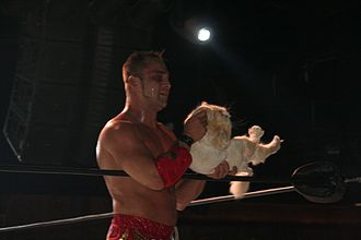 Teddy Hart - Annis with one of his cats in 2015