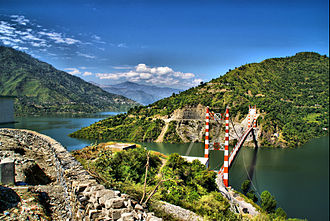 Electricity sector in India - Tehri Hydroelectric Power station's lake in Uttarakhand. With a capacity of 2.4 GW, the largest in India.