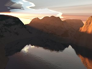A alpin lake rendered with Terragen.
