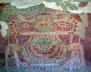 Painting in the Americas before European colonization - Image: Tetitla Teotihuacan Great Goddess mural (Abracapocus)