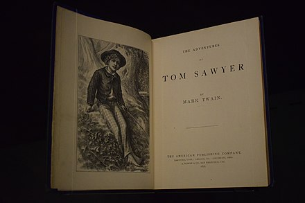 Frontispiece and title page of the first American edition The Adventures of Tom Sawyer.jpg