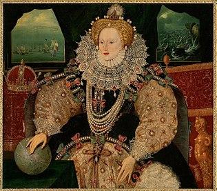 Das Gewand der englischen Königin Elisabeth I. ist von oben bis unten mit  rosa und grünen Schleifen übersäht (