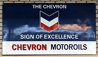 The Chevron sign of excellence, Chevron Motoroils, enamel advertising sign.JPG