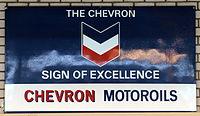 The Chevron sign of excellence, Chevron Motoroils, enamel advertising sign.JPG