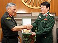 The Chief of Army Staff, General Bipin Rawat exchanging memento with the Chief of General Department of Political Affairs, Vietnam People's Army, Senior Lt. Gen. Luong Cuong, in New Delhi on November 14, 2017.jpg