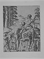 The Climbers- three naked men, one seen from behind climbing onto a river-bank, soldiers emerge from the forest in the background MET MM2594.jpg