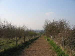 Gog Magog Hills - On the horizon can be seen the southern outskirts of Cambridge, with the tall chimney of Addenbrooke's Hospital.