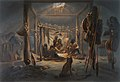 The Interior of the Hut of a Mandan Chief by Karl Bodmer 1833 - 1834.jpg