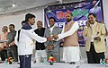 "The Minister of State for Home Affairs, Shri Hansraj Gangaram Ahir felicitating the participants of the ""Khelo India School Games"" from Maharashtra, in New Delhi on February 07, 2018.jpg"