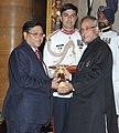 The President, Shri Pranab Mukherjee presenting the Padma Bhushan Award to Dr. Vijay Kumar Saraswat, at an Investiture Ceremony, at Rashtrapati Bhavan, in New Delhi on April 05, 2013.jpg