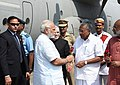 The Prime Minister, Shri Narendra Modi being welcomed by the Governor of Kerala, Justice (Retd.) Shri P. Sathasivam and the Chief Minister of Kerala, Shri Pinarayi Vijayan, on his arrival, at Trivandrum, Kerala (1).jpg