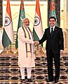 The Prime Minister, Shri Narendra Modi in tete-a-tete with the President of Turkmenistan, Mr. Gurbanguly Berdimuhamedov, at Oguzkhan Palace, in Ashgabat, Turkmenistan on July 11, 2015 (1).jpg