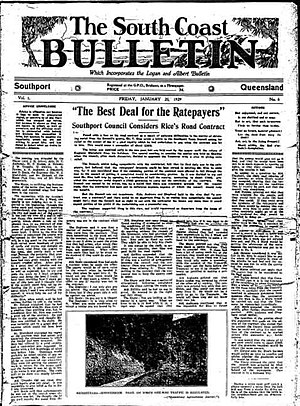 Gold Coast Bulletin - Front page of The South Coast Bulletin, 25 January 1929