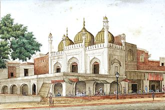 Chandni Chowk - Painting of the Golden Mosque (Sunehri Masjid) in the 1850s, by Ghulam Ali Khan