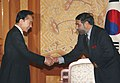 The Union Minister of Commerce and Industry, Shri Anand Sharma meeting the President of South Korea, Mr. Lee Myung Bak, on the sidelines of the signing of CEPA between India and Korea, in Seoul on August 07, 2009.jpg