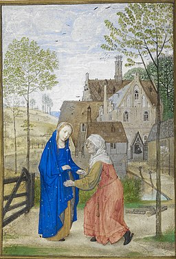 The Visitation. Mary and Elizabeth in the garden of a country house - Huth Hours (1485-1490), f.66v - BL Add MS 38126