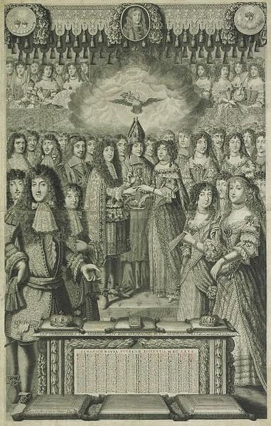 File:The proxy marriage of Marie Louise d'Orléans to Carlos II of Spain on 30 August 1679 the king represented by the Prince of Conti at Fontainebleau by an unknown artist.jpg
