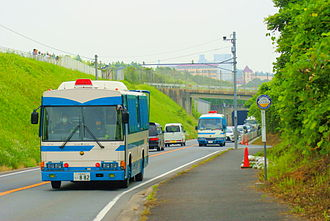 Narita International Airport - Riot squad vehicles patrolling the outskirts of Tokyo Narita Airport