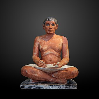 The Seated Scribe from Saqqara, Egypt, limestone and alabaster, circa 2600 and 2350 BC The seated scribe-E 3023-IMG 4267-gradient.jpg