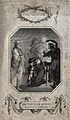 The witch of Endor conjures the ghost of Samuel; Saul bows b Wellcome V0025883.jpg