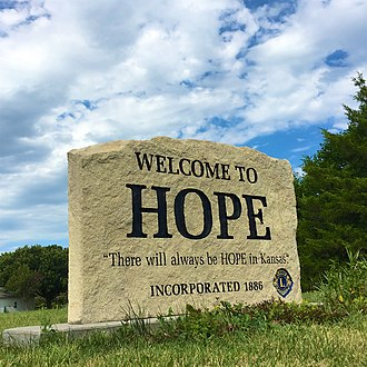 Hope, Kansas - Limestone welcome banner in Hope (2017)