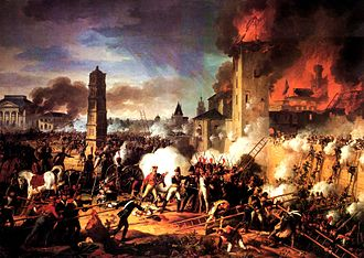 Battle of Ratisbon - Marshal Lannes leads the storming of the citadel at the Battle of Ratisbon, as painted by Charles Thévenin.