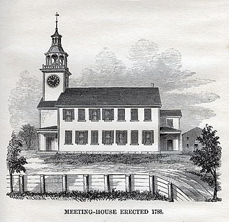 South Church, Andover, Massachusetts - An engraving of the third meeting house built in 1788.