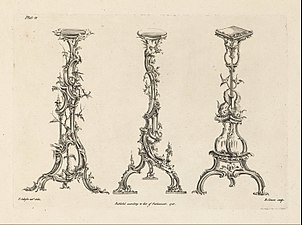 """Thomas Johnson - Three Designs for Torcheres in the Chinese Taste (Plate 13 of """"One Hundred and Fifty New Designs"""") - Google Art Project"""