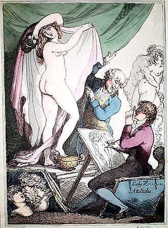 "Emma, Lady Hamilton - Emma performing the ""Attitudes"", caricatured by Thomas Rowlandson"