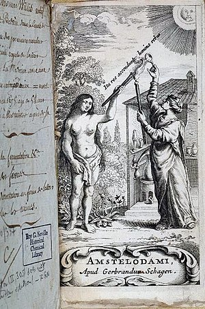 Thomas Willis - Frontispiece to Thomas Willis's 1663 book Diatribae duae medico-philosophicae – quarum prior agit de fermentatione, engraved and published by Gerbrandus Schagen in Amsterdam