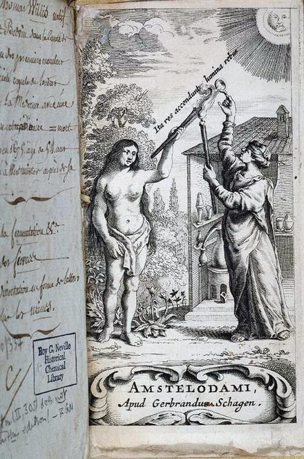 Frontispiece to Thomas Willis's 1663 book Diatribae duae medico-philosophicae - quarum prior agit de fermentatione, engraved and published by Gerbrandus Schagen in Amsterdam Thomas Willis - Diatribae duae medico-philosophicae - quarum prior agit de fermentatione 4430011502 0cec24863c o.jpg
