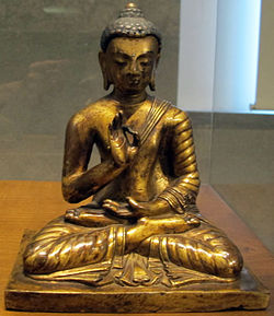 Tibet, amoghasiddhi, il jina del nord, xvi-xvii sec.JPG