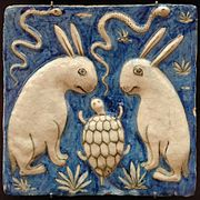Tile with two rabbits, two snakes and a tortoise. Illustration for Zakariya al-Qazwini's book, Marvels of Things Created and Miraculous Aspects of Things Existing (13th century).